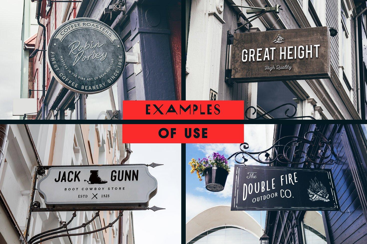 157款城市街头店铺招牌标牌标志Logo设计展示样机套装 The Mega Signs Bundle插图2