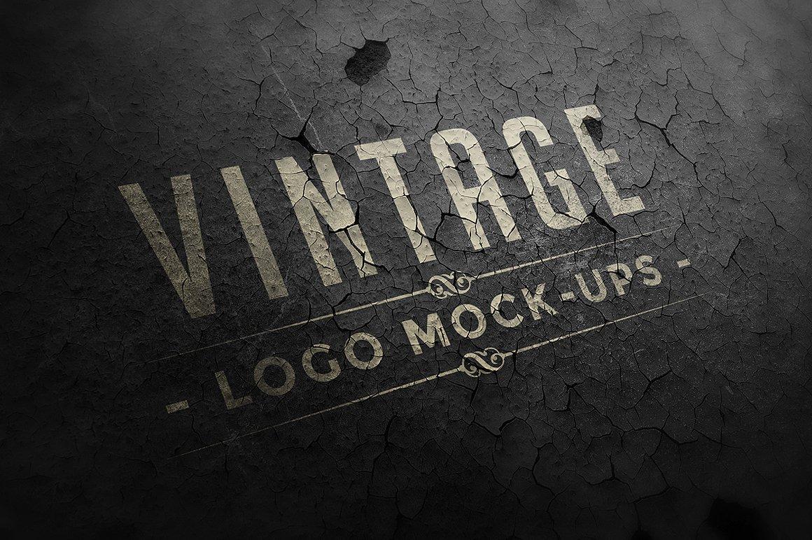 12个复古做旧徽标Logo设计展示样机模板 Vintage Logo Mock-ups插图