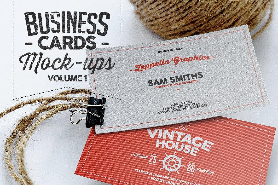 8款简约横板商务名片设计样机模板 Business Card Mock-ups Vol.1插图