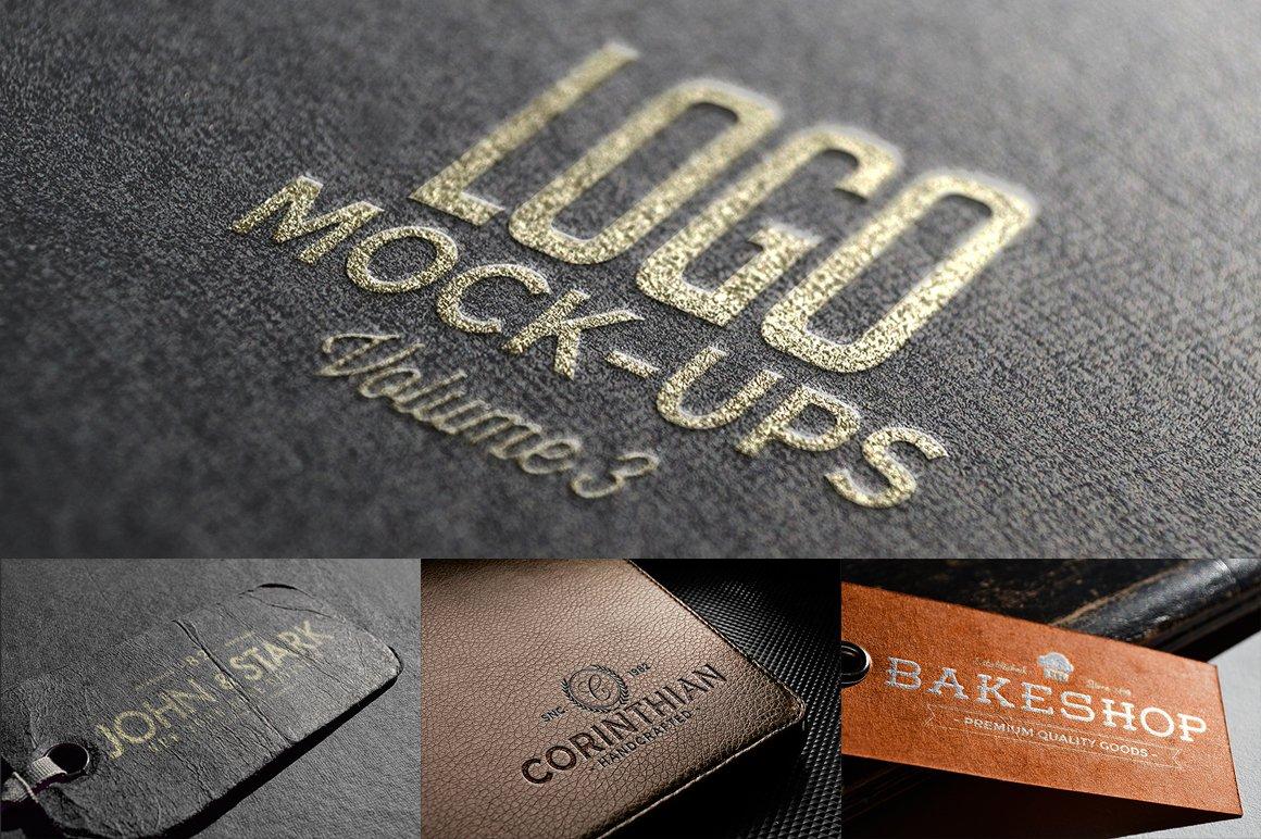 10款皮革标签徽标Logo设计PS贴图样机模板 Logo Mock-ups Vol.3插图
