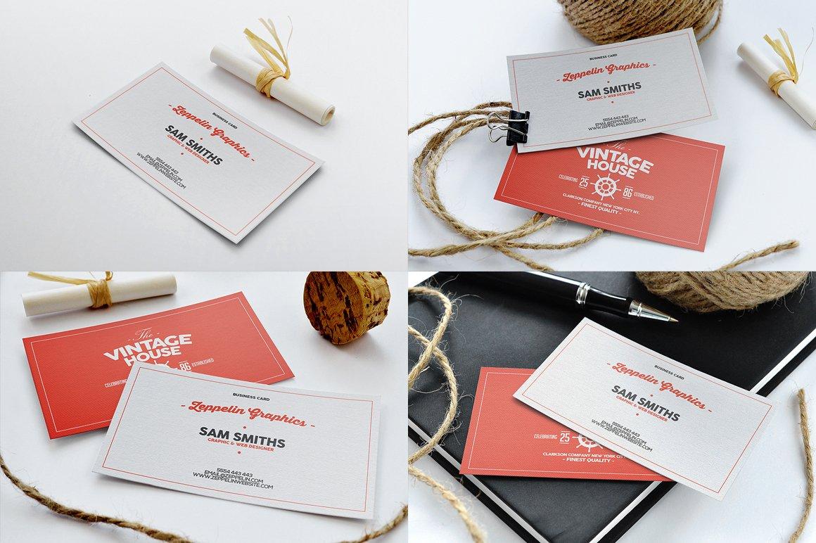 8款简约横板商务名片设计样机模板 Business Card Mock-ups Vol.1插图1