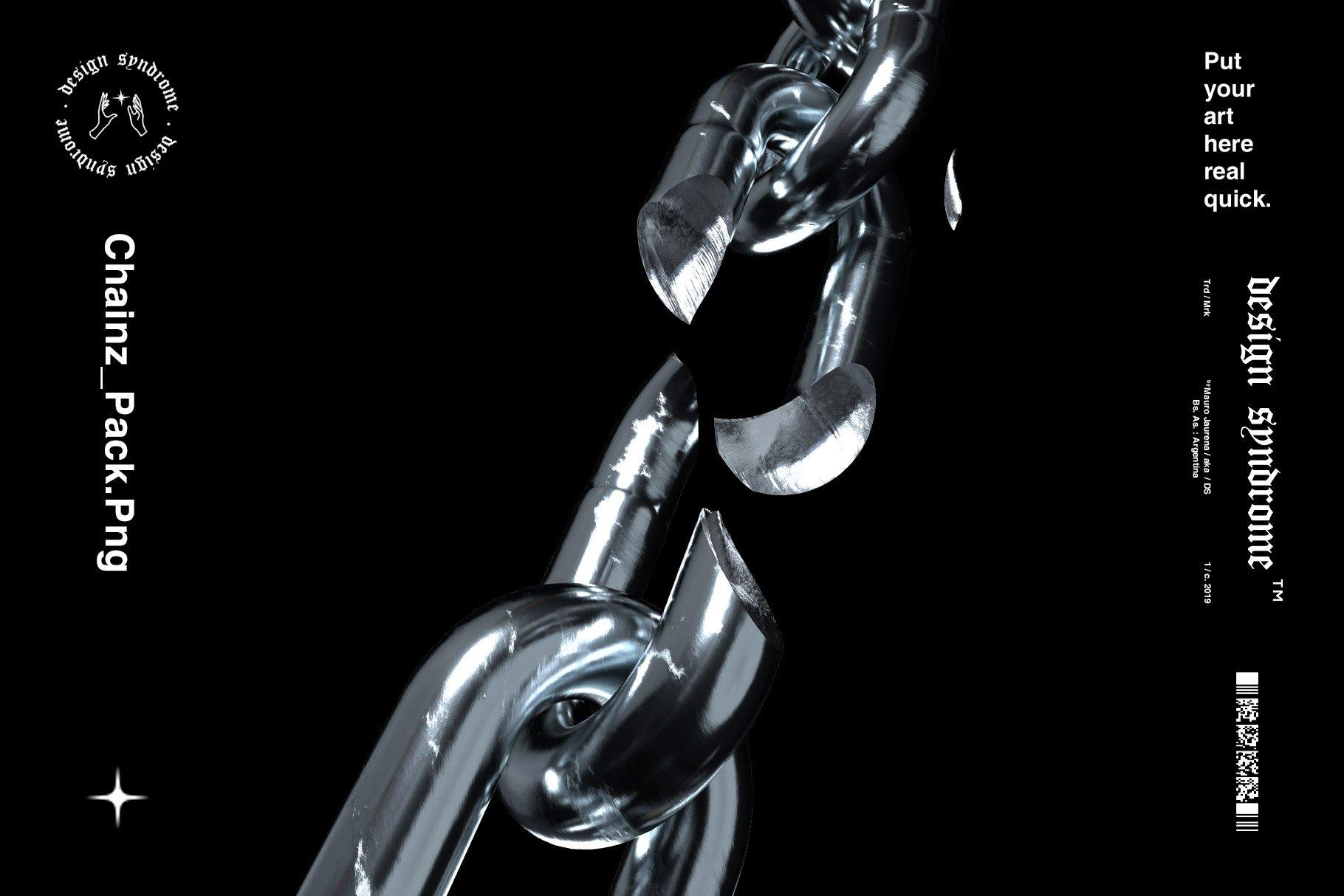 [单独购买] 50款潮流炫酷金属质感锁链海报设计背景PNG免扣图片素材 Design Syndrome – Chainz PNG Pack插图