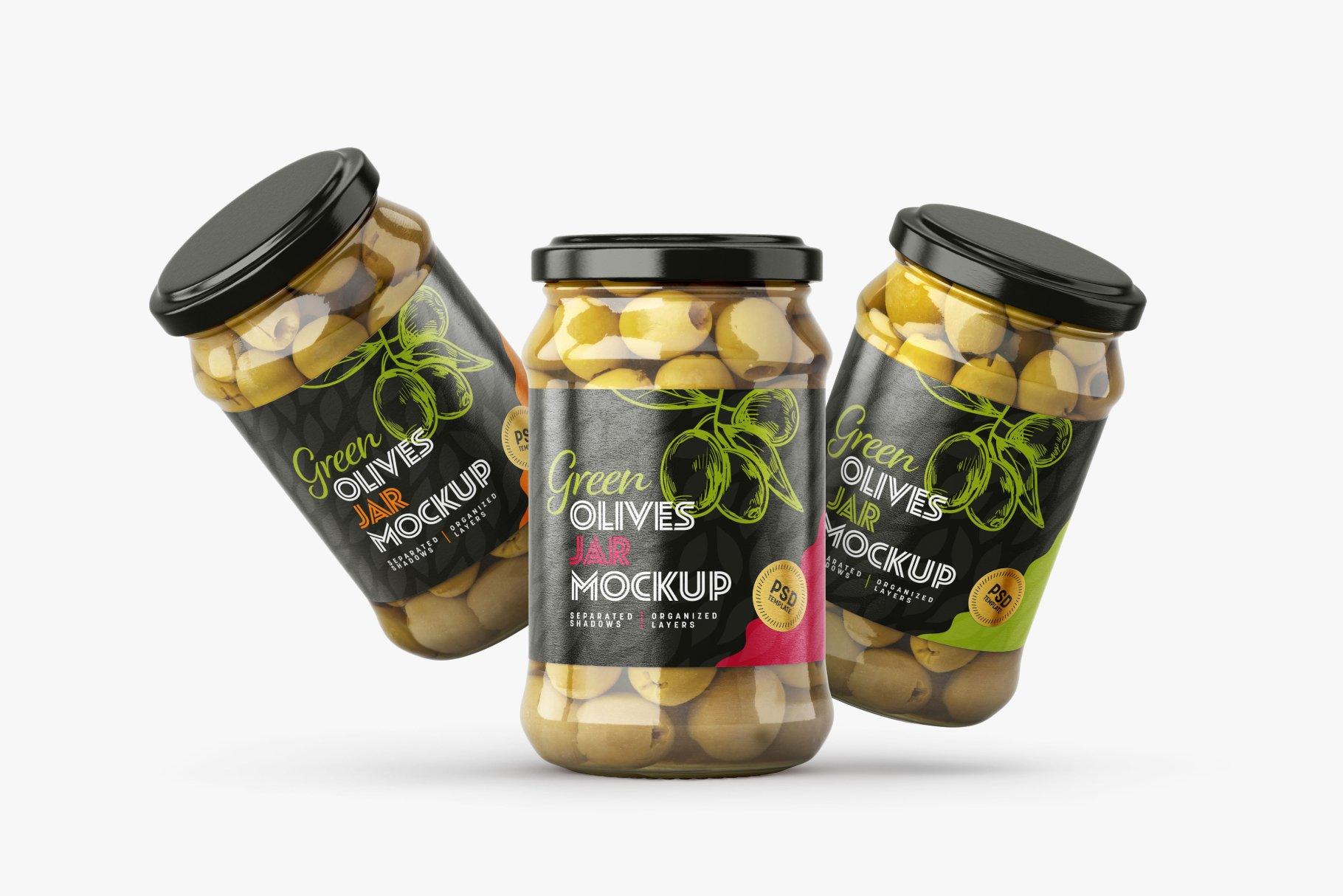 9款新潮华丽食品果酱罐头玻璃罐标签设计样机合集 Olives Jar Mockup Set插图4