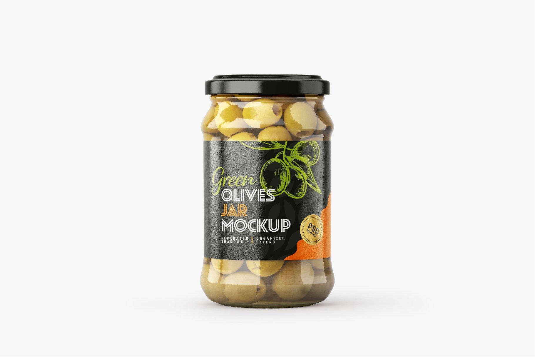 9款新潮华丽食品果酱罐头玻璃罐标签设计样机合集 Olives Jar Mockup Set插图5