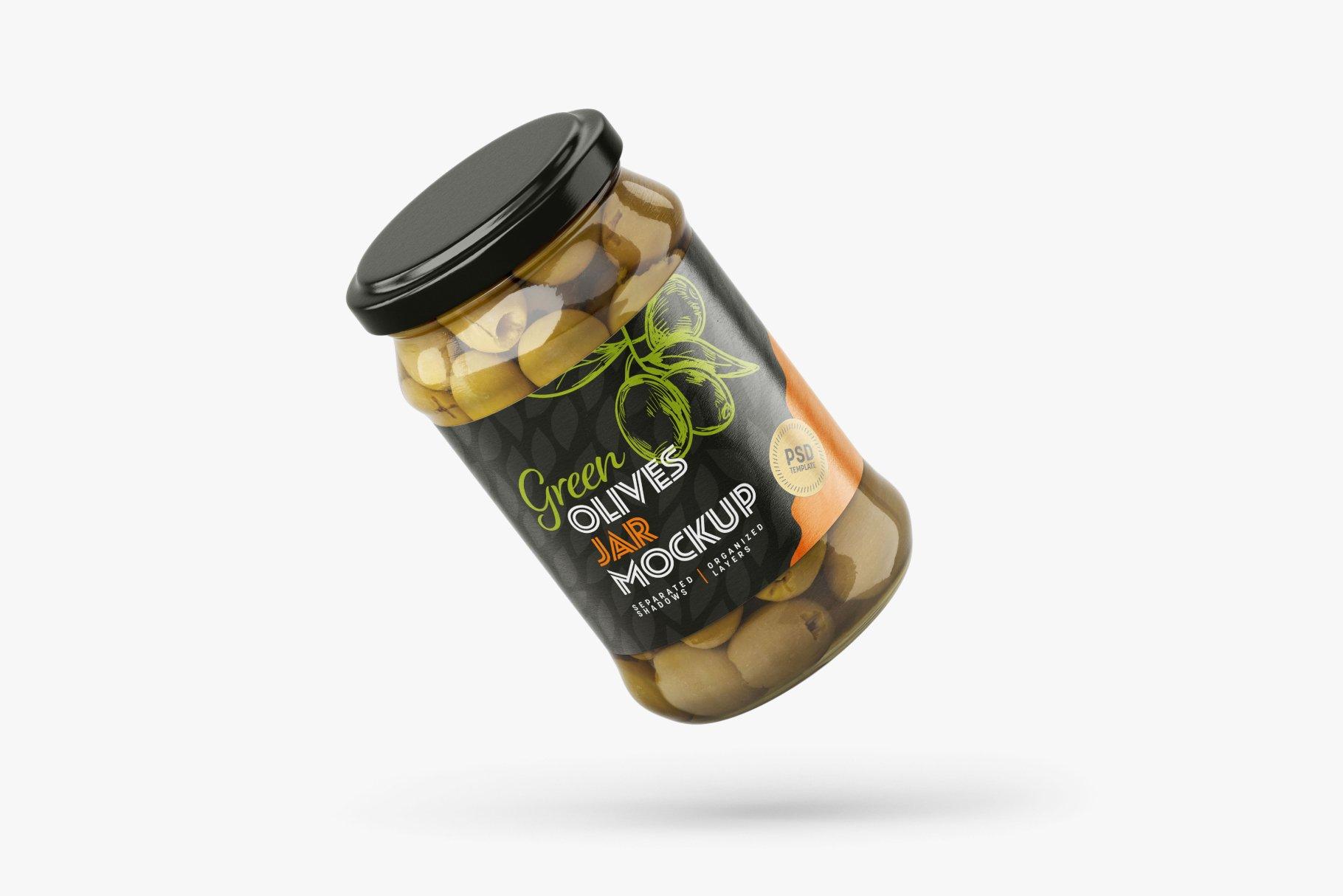 9款新潮华丽食品果酱罐头玻璃罐标签设计样机合集 Olives Jar Mockup Set插图6
