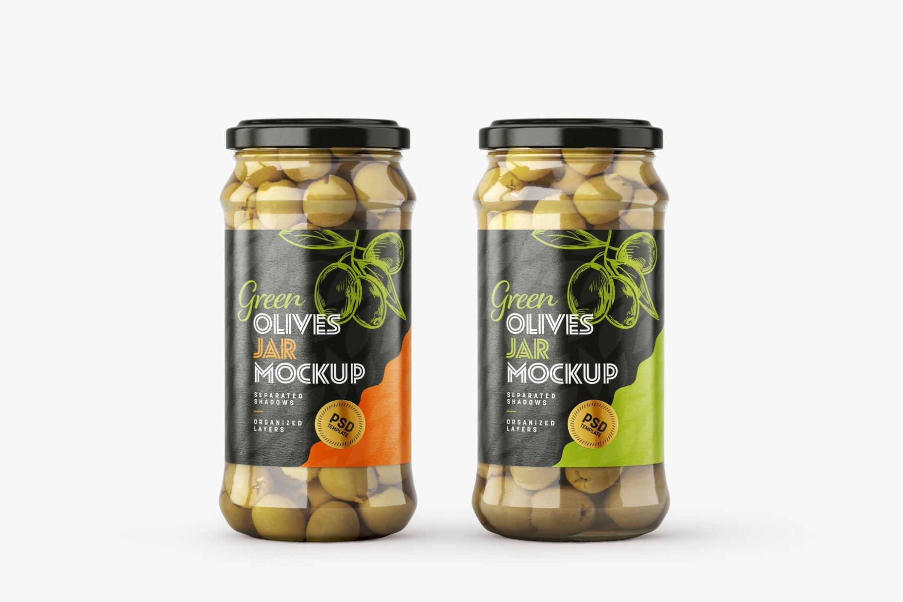 9款新潮华丽食品果酱罐头玻璃罐标签设计样机合集 Olives Jar Mockup Set插图7