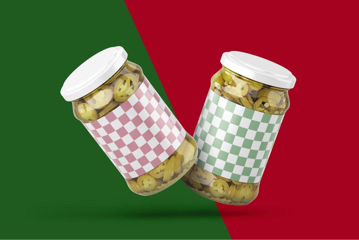 7款华丽胡椒果酱玻璃瓶标签设计展示贴图样机合集 Pickled Jalapeno Jar Mockup Set插图7