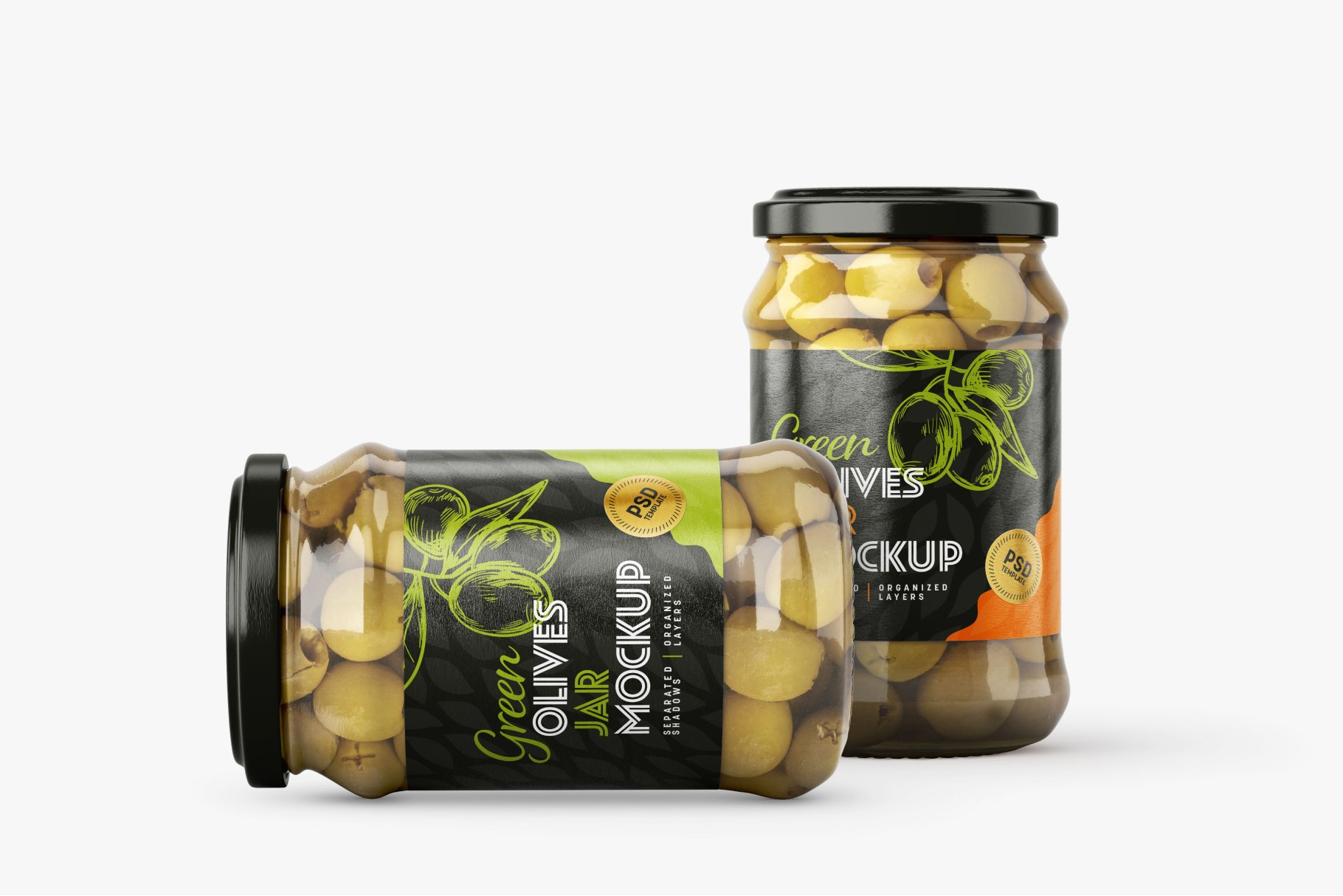 9款新潮华丽食品果酱罐头玻璃罐标签设计样机合集 Olives Jar Mockup Set插图8