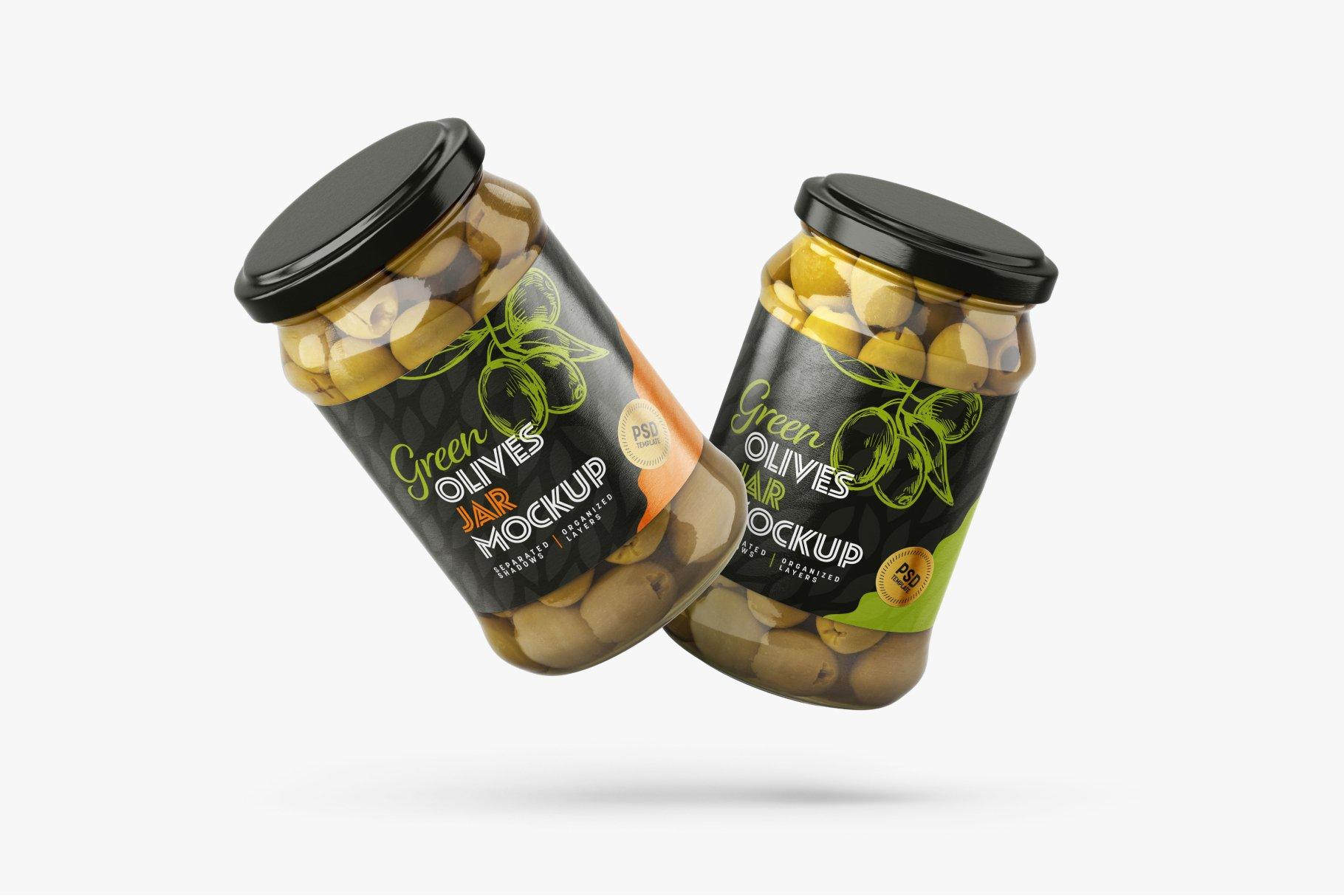9款新潮华丽食品果酱罐头玻璃罐标签设计样机合集 Olives Jar Mockup Set插图9
