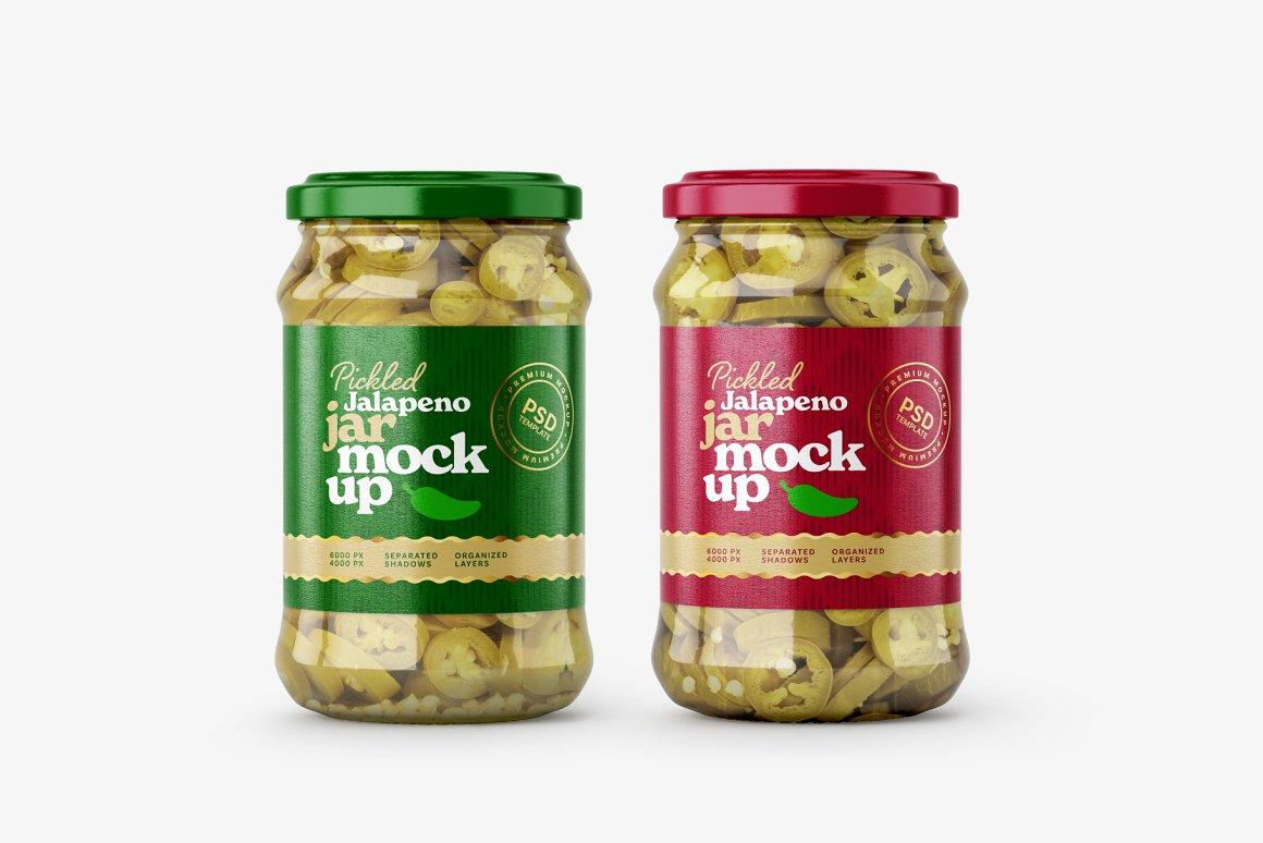 7款华丽胡椒果酱玻璃瓶标签设计展示贴图样机合集 Pickled Jalapeno Jar Mockup Set插图2