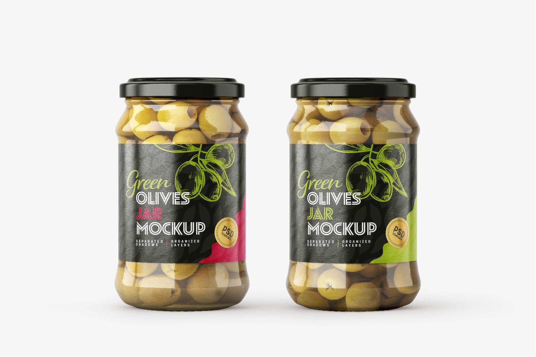 9款新潮华丽食品果酱罐头玻璃罐标签设计样机合集 Olives Jar Mockup Set插图11