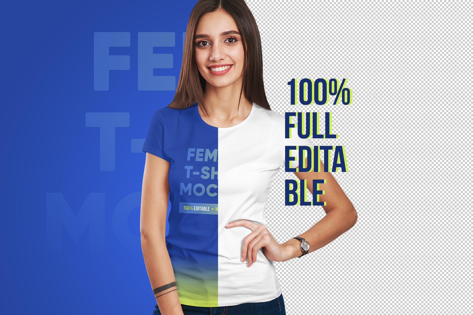 12款高品质女士半袖T恤印花图案设计展示PS智能贴图样机 Female T-Shirt Mockups Vol 3 Part 1插图1