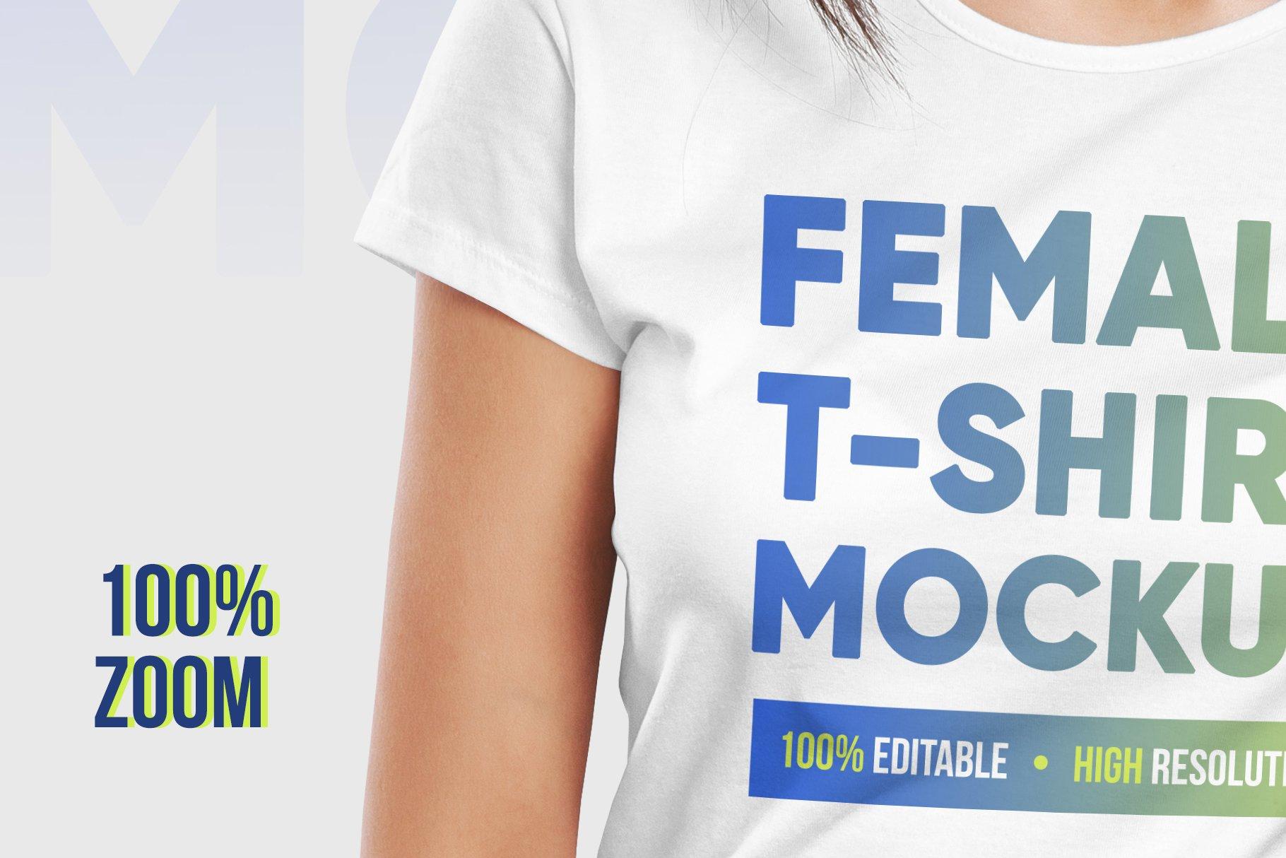 12款高品质女士半袖T恤印花图案设计展示PS智能贴图样机 Female T-Shirt Mockups Vol 3 Part 1插图2
