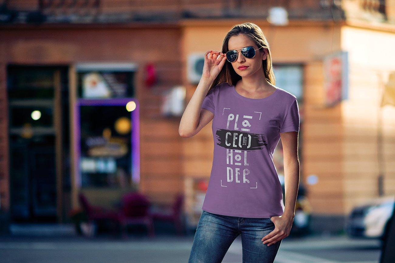 10款时尚半袖T恤印花图案设计PSD样机模板 T-Shirt Mock-Up Vol.4插图4