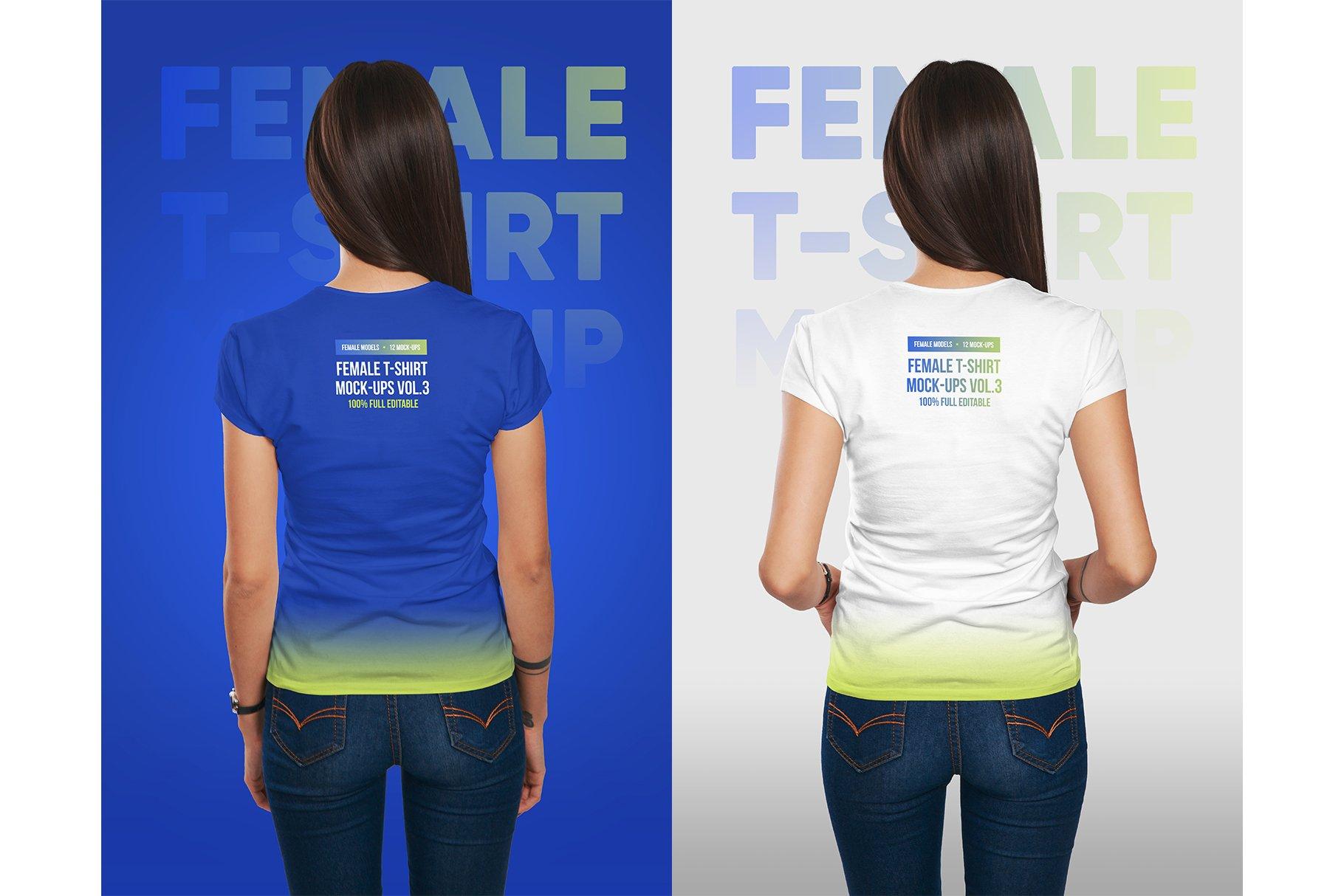 12款高品质女士半袖T恤印花图案设计展示PS智能贴图样机 Female T-Shirt Mockups Vol 3 Part 1插图5