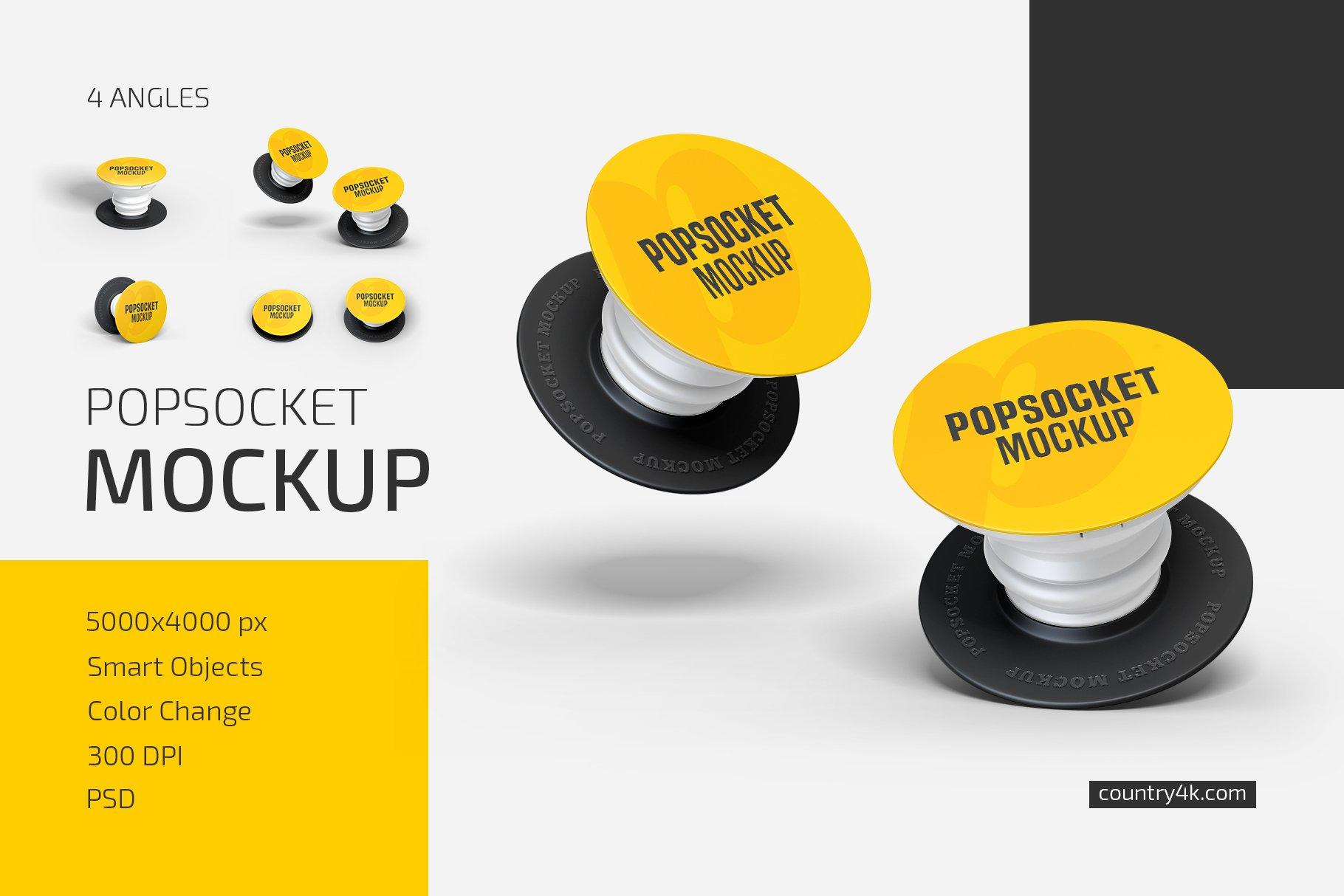时尚手机移动设备磁铁粘扣样机模板 Popsocket Mockup Set插图