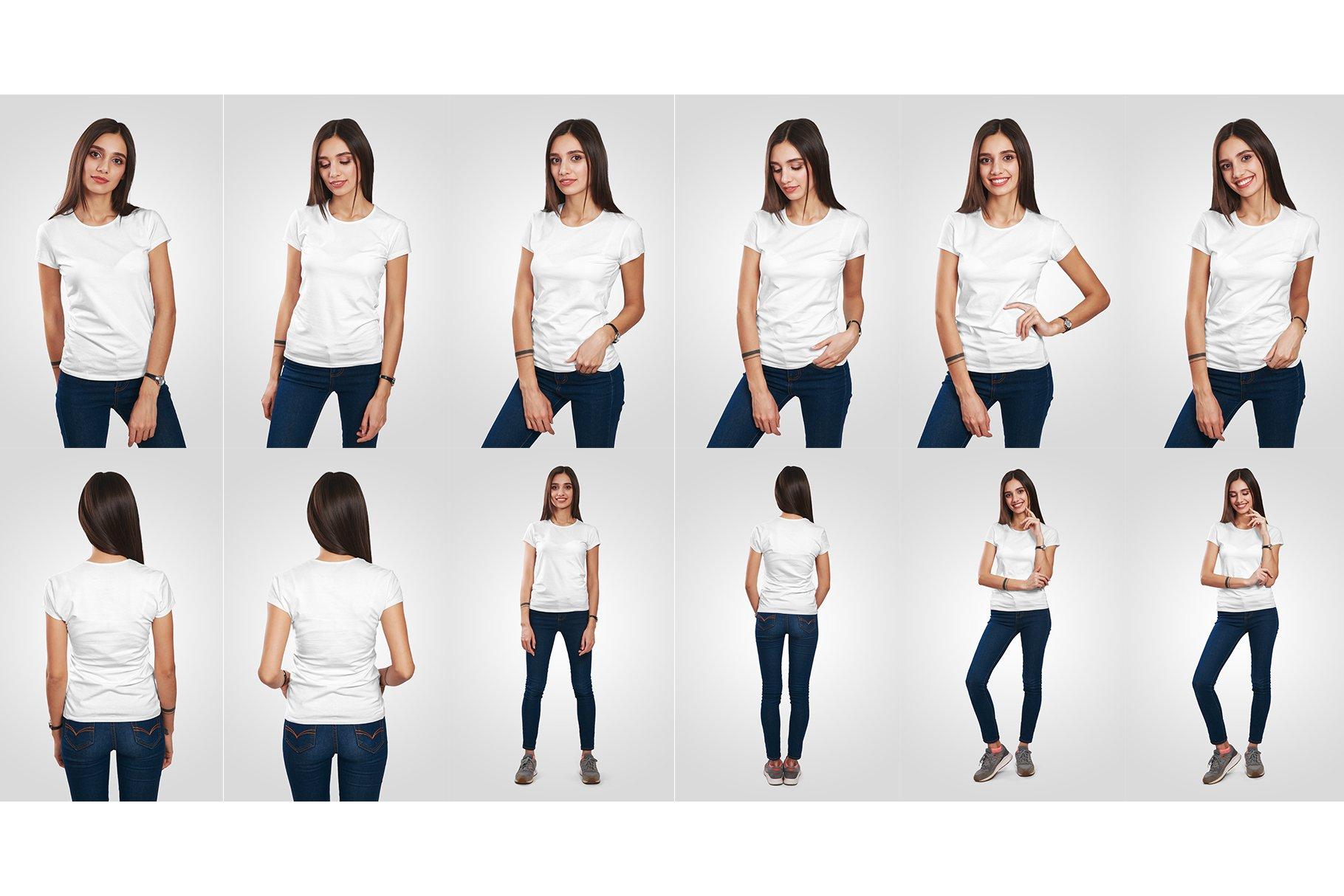 12款高品质女士半袖T恤印花图案设计展示PS智能贴图样机 Female T-Shirt Mockups Vol 3 Part 1插图8