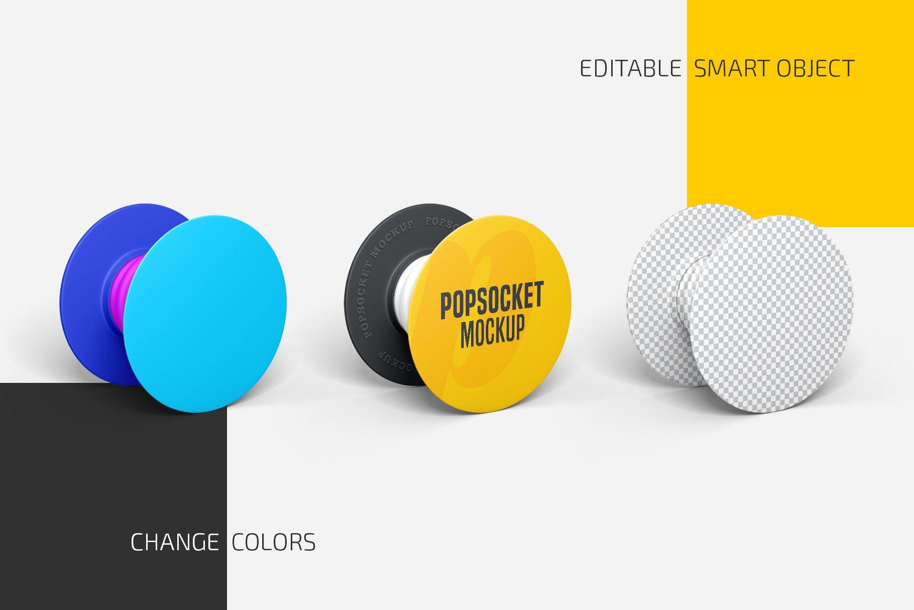 时尚手机移动设备磁铁粘扣样机模板 Popsocket Mockup Set插图1