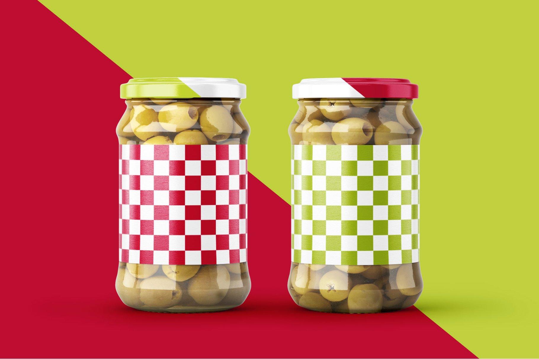 9款新潮华丽食品果酱罐头玻璃罐标签设计样机合集 Olives Jar Mockup Set插图10