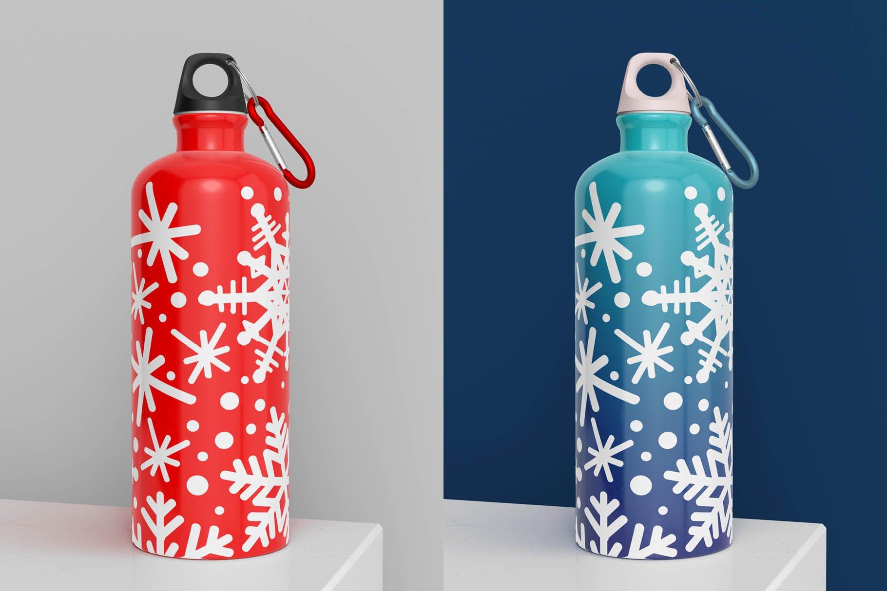 5款不锈钢保温水杯设计智能贴图样机模板 Aluminium Water Bottle Mock-Up插图8
