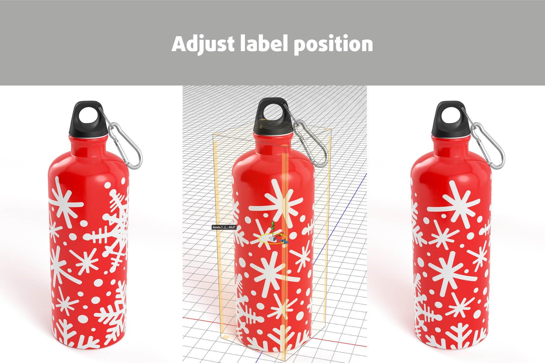 5款不锈钢保温水杯设计智能贴图样机模板 Aluminium Water Bottle Mock-Up插图9