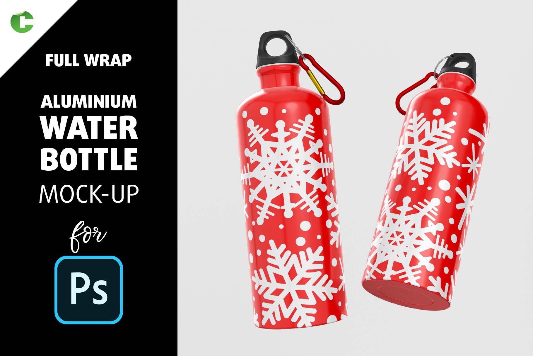5款不锈钢保温水杯设计智能贴图样机模板 Aluminium Water Bottle Mock-Up插图