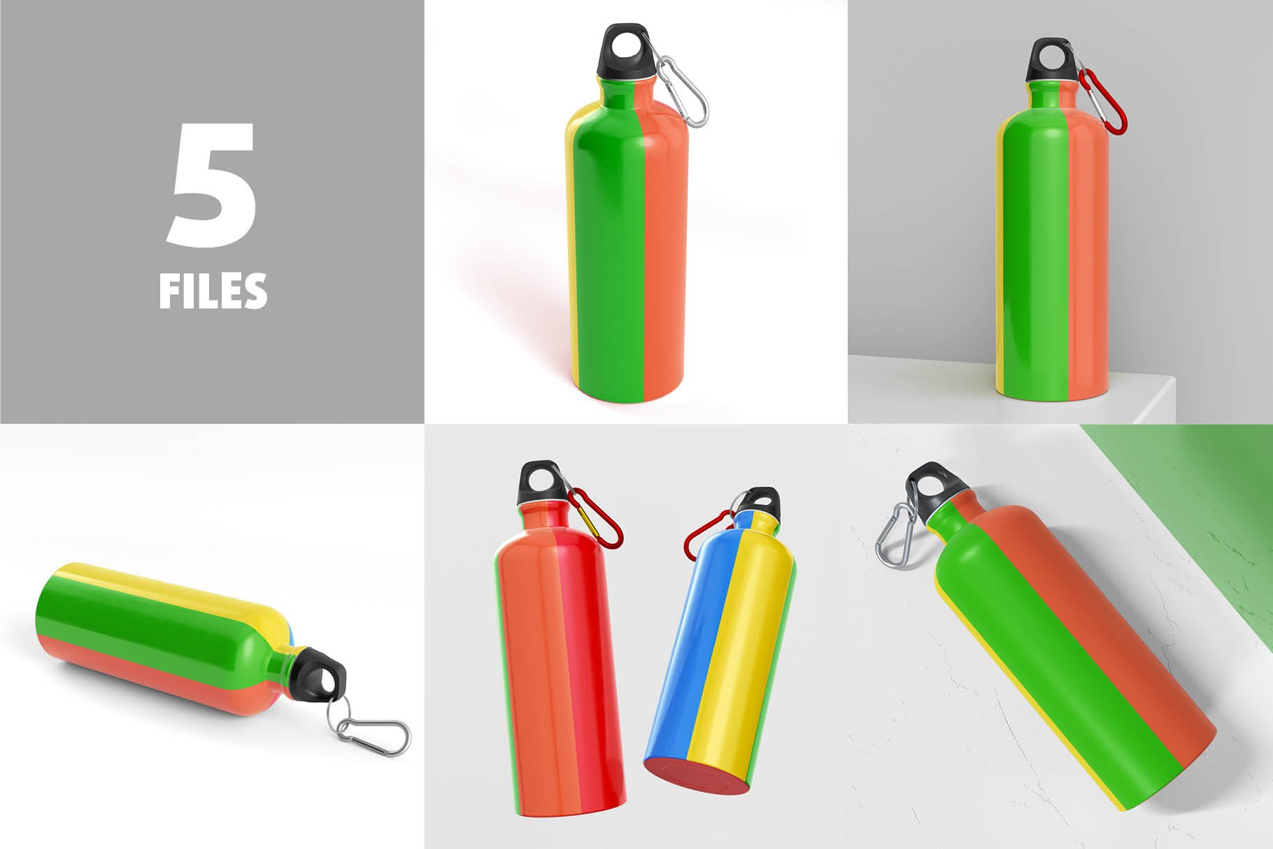 5款不锈钢保温水杯设计智能贴图样机模板 Aluminium Water Bottle Mock-Up插图1