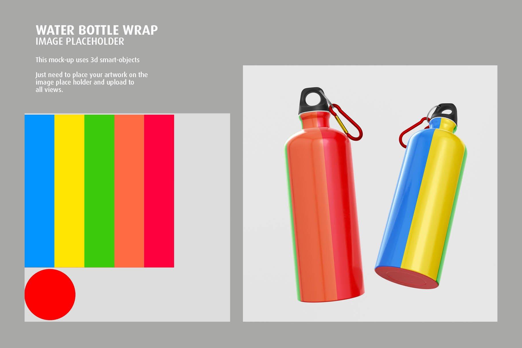 5款不锈钢保温水杯设计智能贴图样机模板 Aluminium Water Bottle Mock-Up插图2