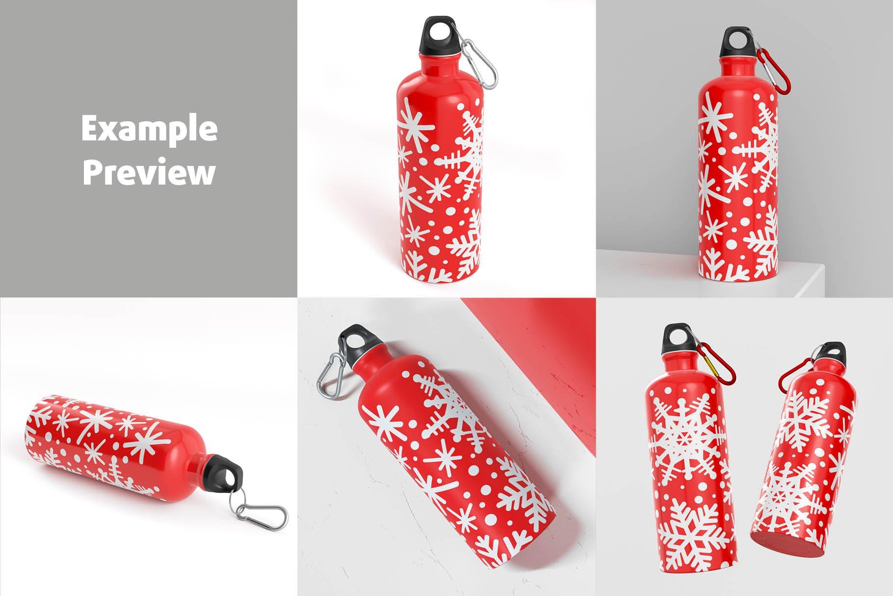 5款不锈钢保温水杯设计智能贴图样机模板 Aluminium Water Bottle Mock-Up插图4