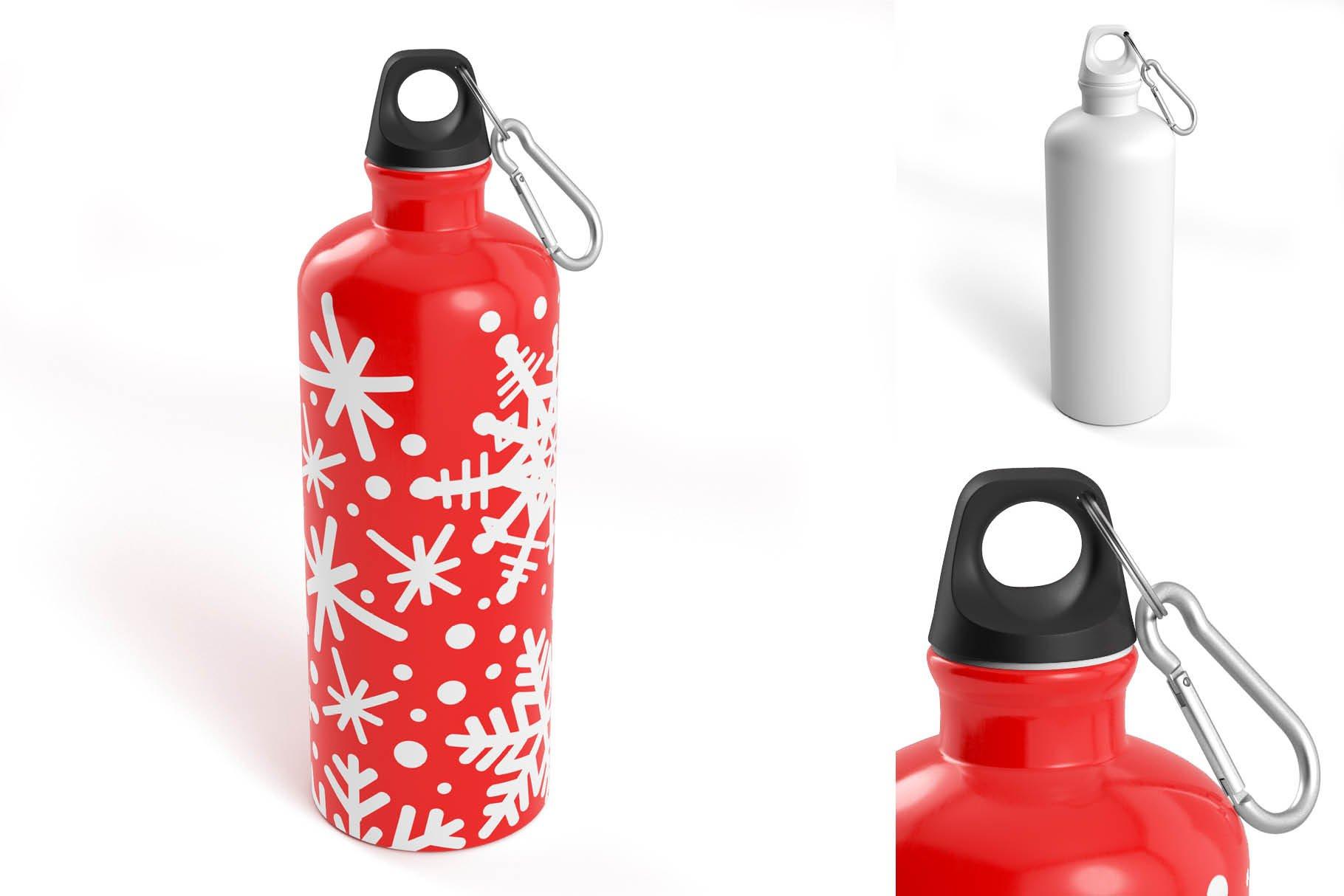 5款不锈钢保温水杯设计智能贴图样机模板 Aluminium Water Bottle Mock-Up插图5