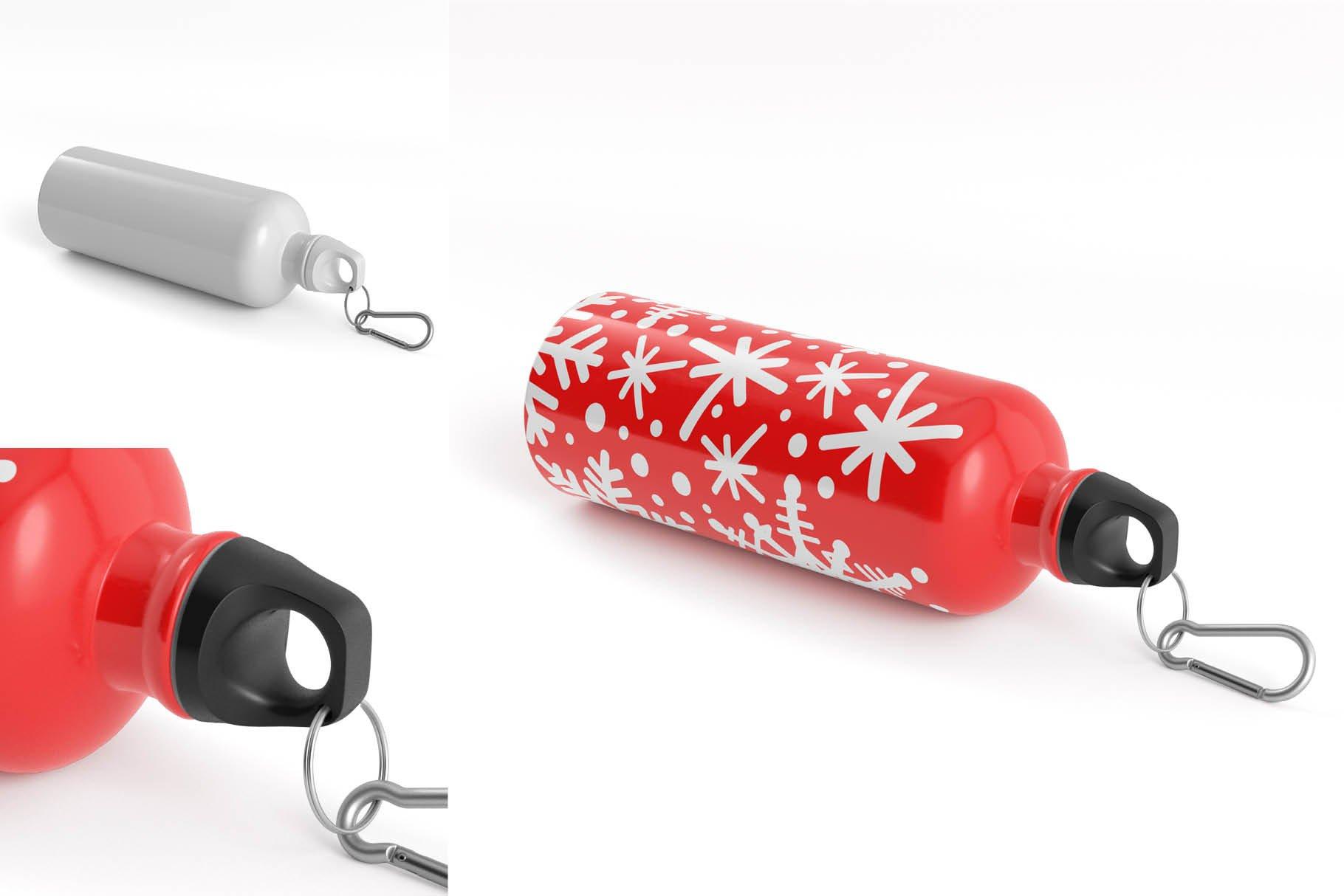 5款不锈钢保温水杯设计智能贴图样机模板 Aluminium Water Bottle Mock-Up插图6
