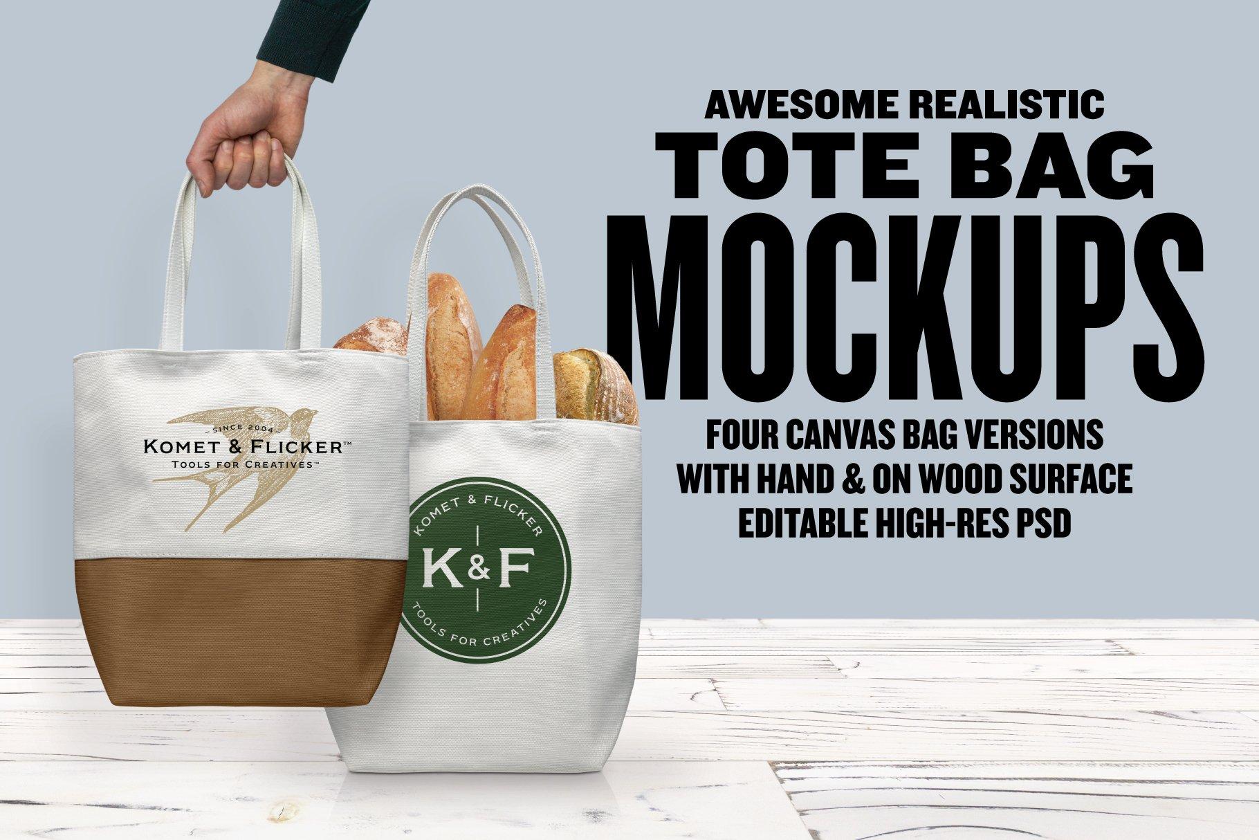 逼真白色帆布手提袋样机素材 Realistic Canvas Tote Bag Mockups插图