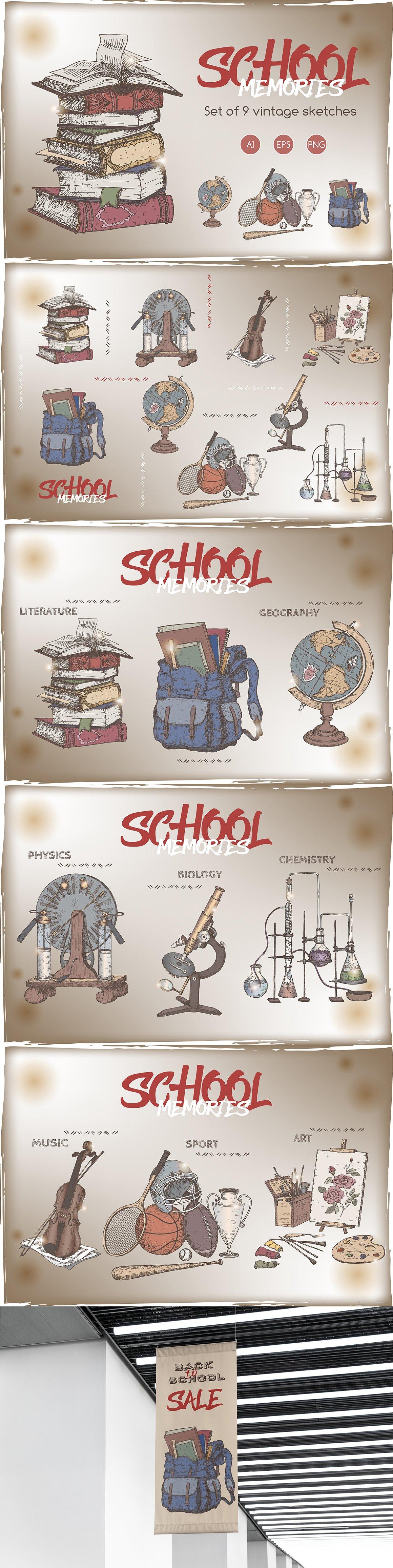 怀旧上学学校元素手绘插画矢量设计素材 School Memories Vintage Sketch Set插图