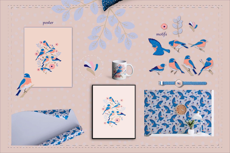 可爱鸟类手绘剪贴画矢量设计素材合集 Backyard Birds Collections插图2