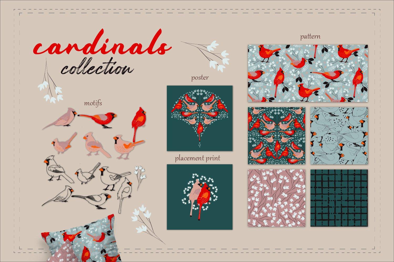 可爱鸟类手绘剪贴画矢量设计素材合集 Backyard Birds Collections插图3