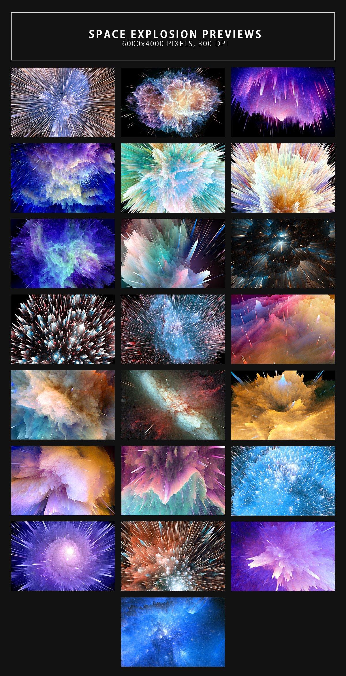22款抽象空间星球宇宙爆炸背景图片设计素材 Space Explosion Backgrounds插图1