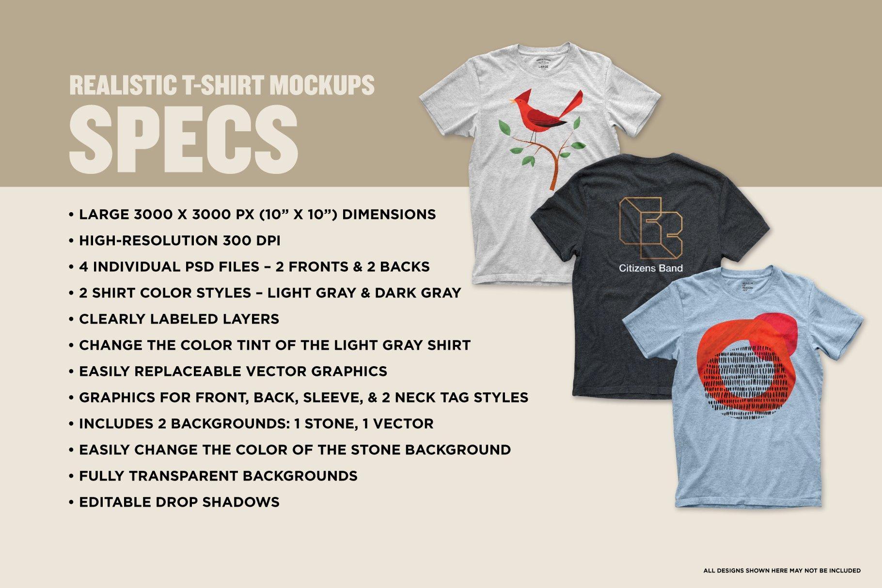 逼真圆领半袖T恤印花图案设计演示PS样机模板 Realistic Blank Gray T-shirt Mockups插图5