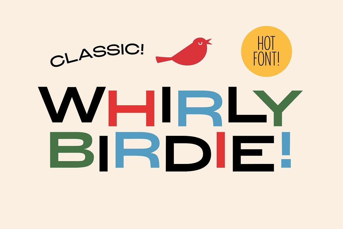 现代复古海报画册杂志Logo标题无衬线英文字体素材 Whirly Birdie Variable Font插图