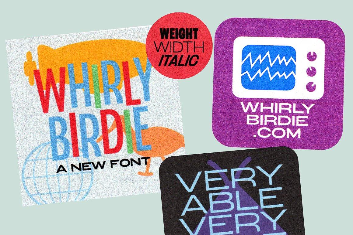 现代复古海报画册杂志Logo标题无衬线英文字体素材 Whirly Birdie Variable Font插图4