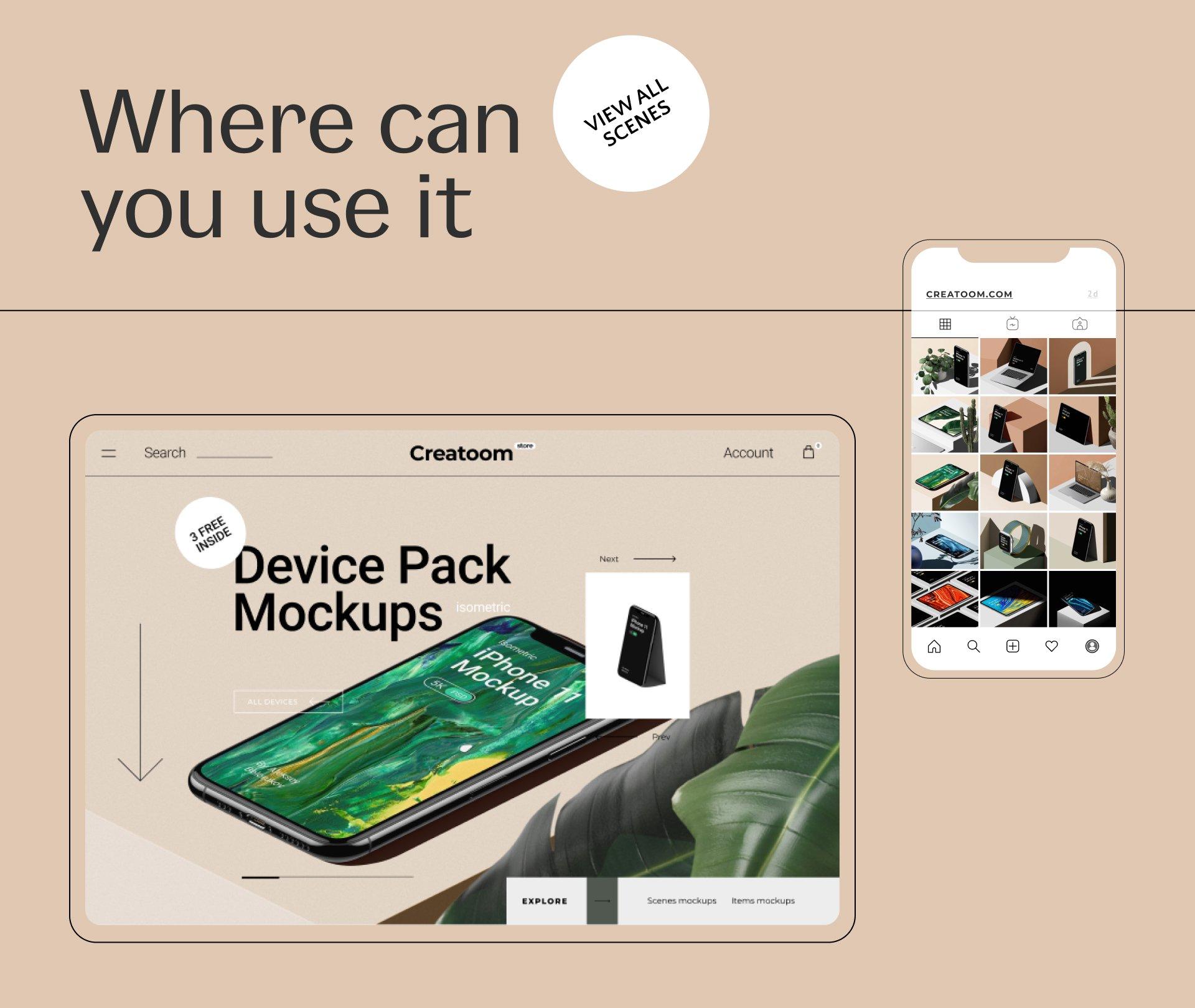 [单独购买] 16款时尚等距APP界面设计苹果设备屏幕演示场景样机模板套装 Device Pack Mockups – Isometric插图22