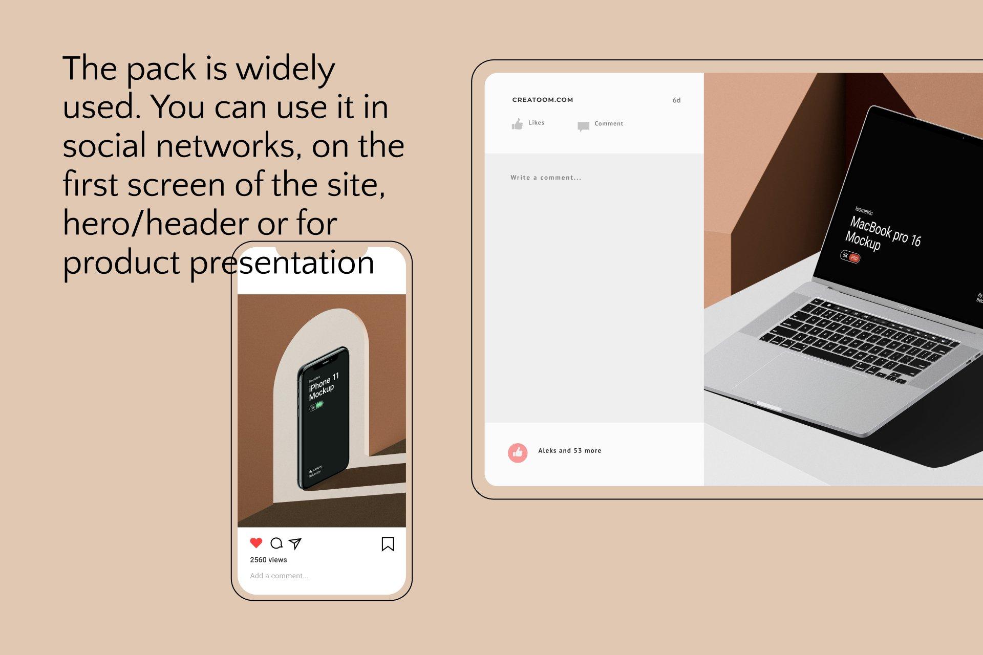 [单独购买] 16款时尚等距APP界面设计苹果设备屏幕演示场景样机模板套装 Device Pack Mockups – Isometric插图24