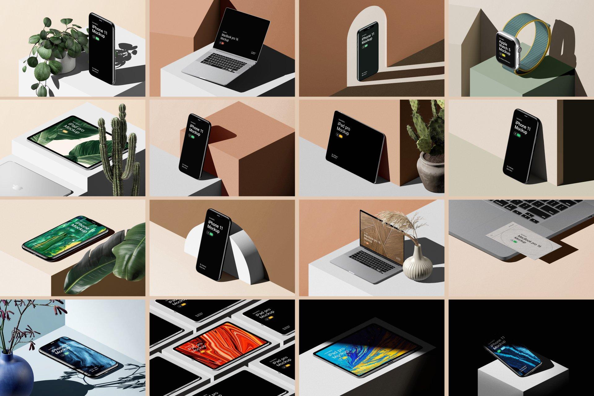 [单独购买] 16款时尚等距APP界面设计苹果设备屏幕演示场景样机模板套装 Device Pack Mockups – Isometric插图25