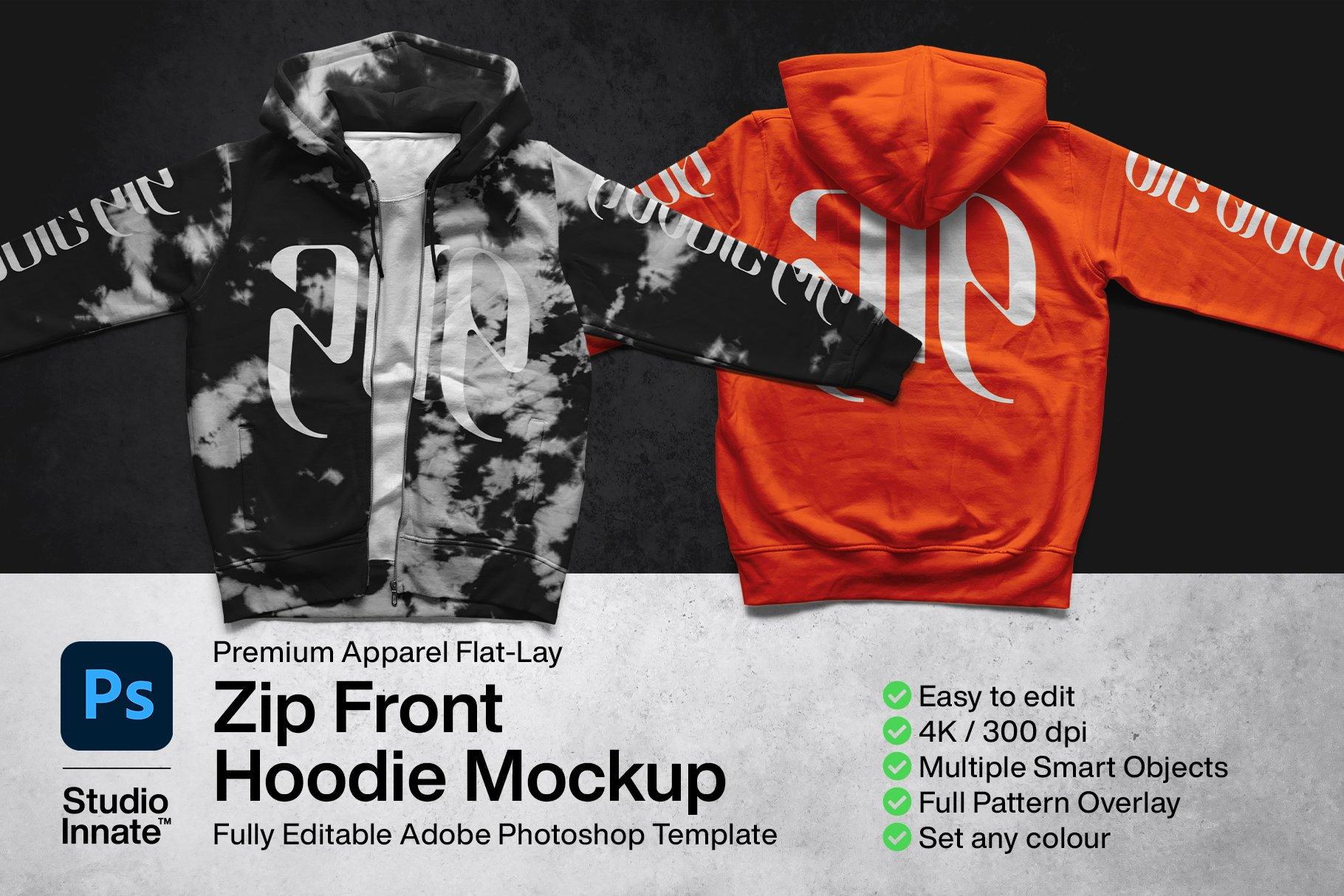 潮流拉链连衣帽卫衣印花图案设计PS智能贴图样机模板 Zip Front Hoodie Mockup插图