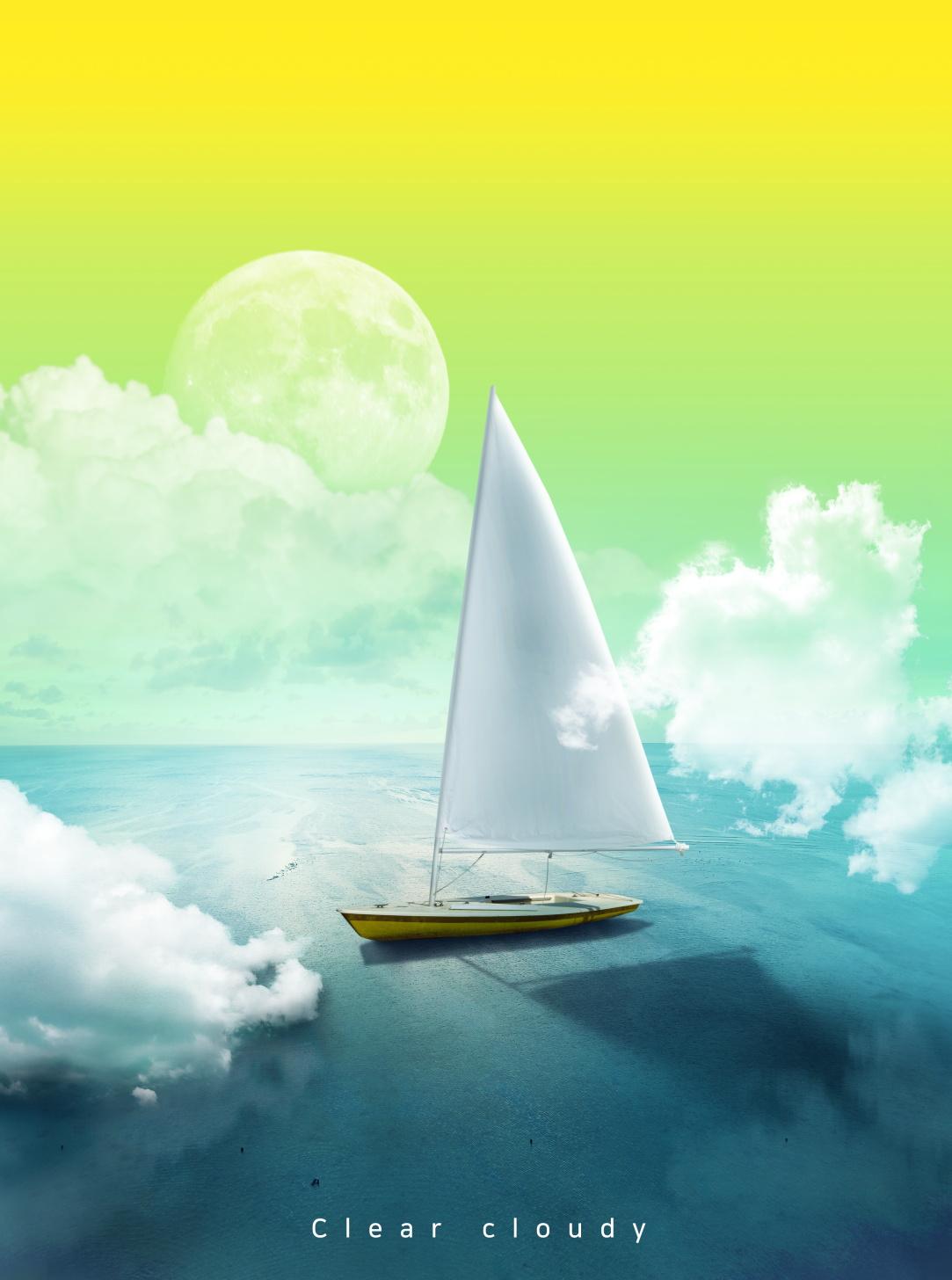 [单独购买] 14款创意梦幻唯美白云云朵企业主视觉KV展板海报设计PSD模版 Cloud Sale Poster Template插图1