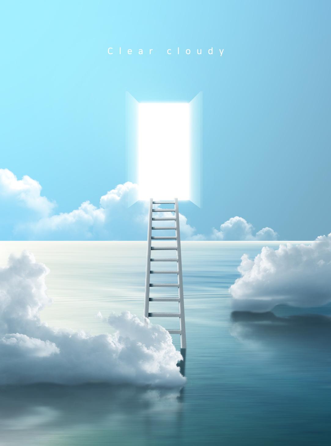 [单独购买] 14款创意梦幻唯美白云云朵企业主视觉KV展板海报设计PSD模版 Cloud Sale Poster Template插图10