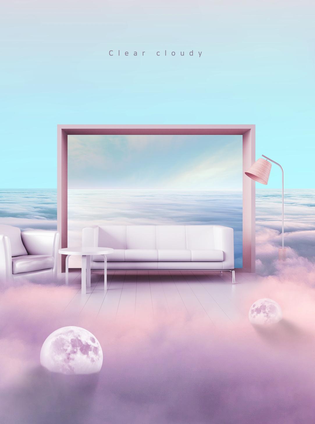 [单独购买] 14款创意梦幻唯美白云云朵企业主视觉KV展板海报设计PSD模版 Cloud Sale Poster Template插图12