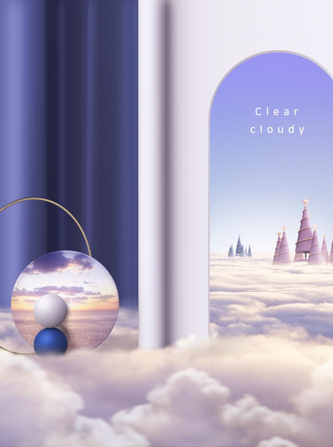 [单独购买] 14款创意梦幻唯美白云云朵企业主视觉KV展板海报设计PSD模版 Cloud Sale Poster Template插图13