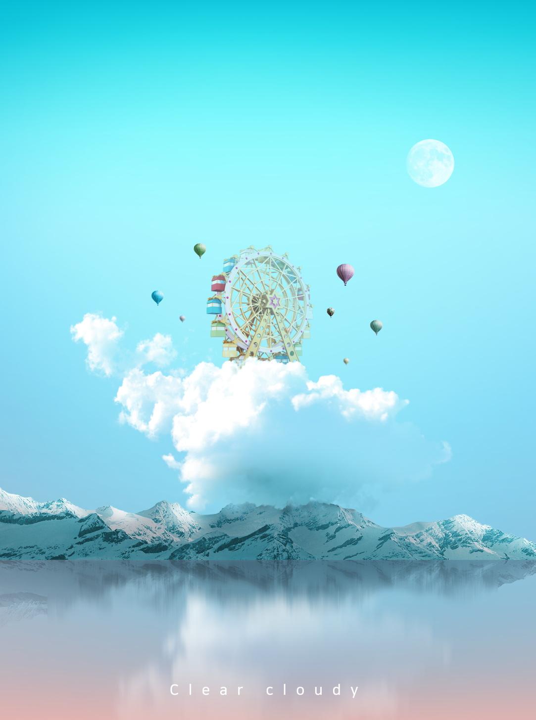 [单独购买] 14款创意梦幻唯美白云云朵企业主视觉KV展板海报设计PSD模版 Cloud Sale Poster Template插图2