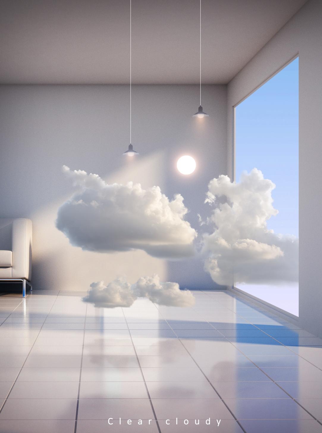 [单独购买] 14款创意梦幻唯美白云云朵企业主视觉KV展板海报设计PSD模版 Cloud Sale Poster Template插图3