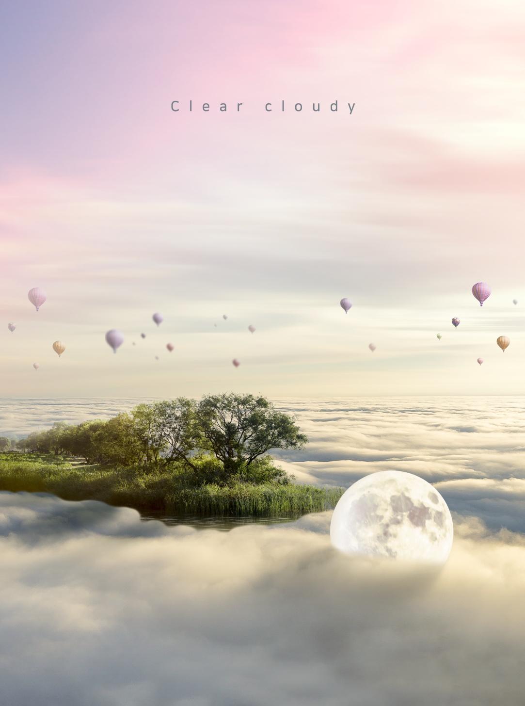 [单独购买] 14款创意梦幻唯美白云云朵企业主视觉KV展板海报设计PSD模版 Cloud Sale Poster Template插图4